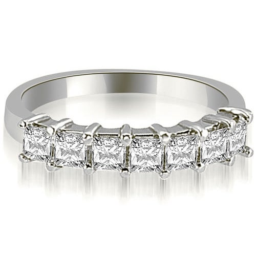 2.00 cttw. 14K White Gold Princess Diamond 7-Stone Prong Wedding Band