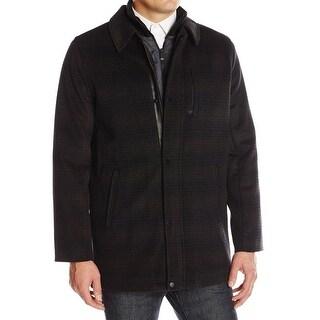 Calvin Klein NEW Brown Mens Size Large L Wool Bibbed Pattern Car Coat