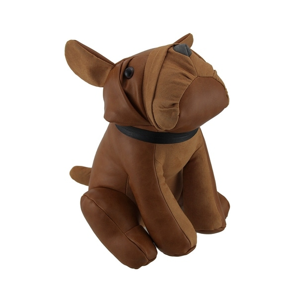 Adorable Sitting Bulldog Faux Leather Bean Bag Door Stop