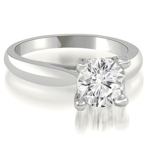 0.85 cttw. 14K White Gold Pave Studded 4-Prong Round Diamond Engagement Ring