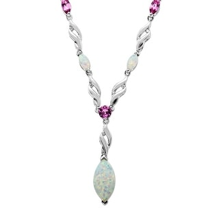 2 ct Opal and Pink Sapphire Necklace in Sterling Silver - White