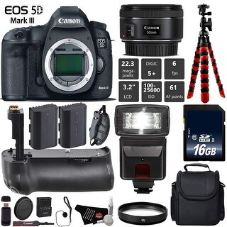 Canon EOS 5D Mark III DSLR Camera with 50mm 1.8 STM Lens + Tripod + Professional Battery Grip + Card Reader - Intl Model