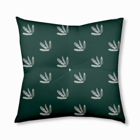 Feather Pattern Fall Design Tufted Floor Pillow