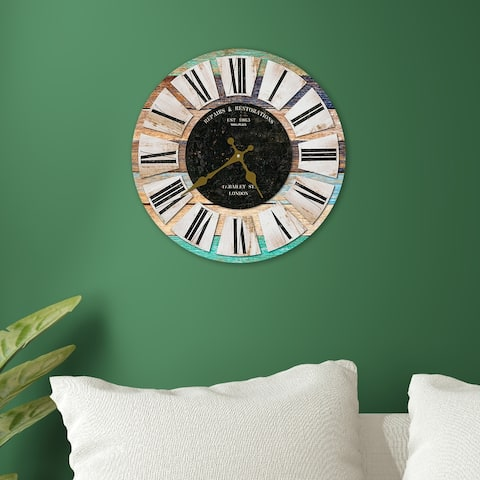 Walplus Colorful Wooden Rustic Wall Clock Decoration Home Design Idea