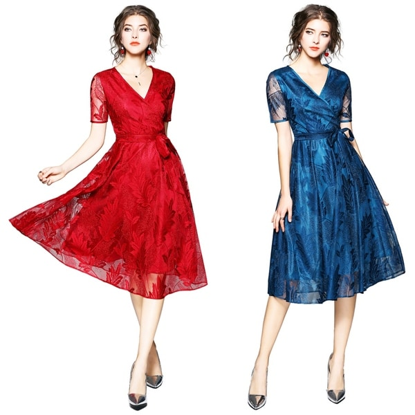 Feather Pattern Lace Cocktail Party Dresses