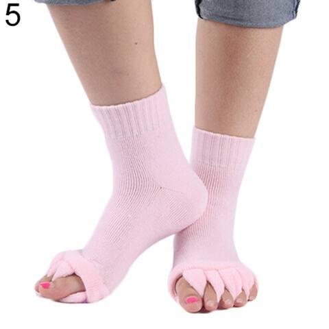 1 Pair Yoga Gym Massage Five Toe Separator Socks Foot Alignment Pain Relief