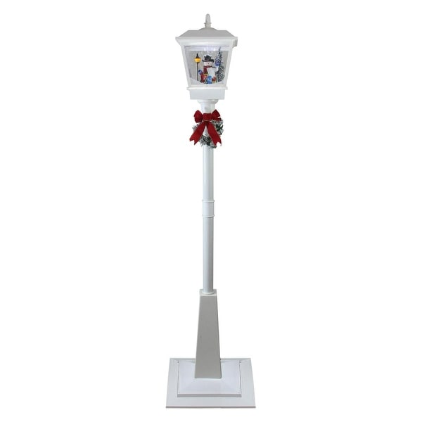 "70.75"" White Lighted Musical Snowman Vertical Snowing Christmas Street Lamp"