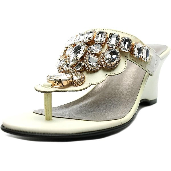 Love and Liberty Dalila Women Open Toe Leather White Wedge Sandal