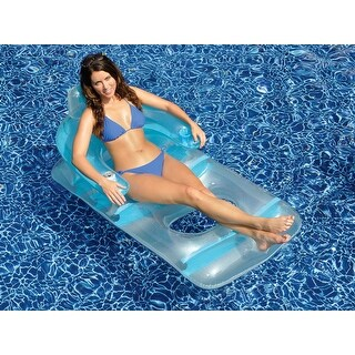 "66"" Water Sports Blue and Clear Classic Inflatable Swimming Pool Lounge Chair"