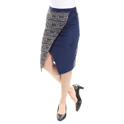 CATHERINE MALANDRINO Womens Navy Below The Knee Tulip Wear To Work Skirt Size: 2