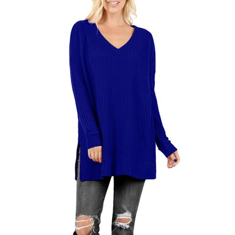 NE PEOPLE Womens Warm V-Neck Long Sleeve Thermal Waffle Sweater Top