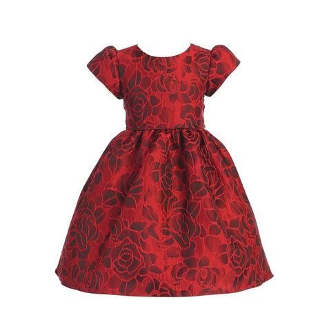 Lito Little Girls Red Black Jacquard Floral Short Sleeve Christmas Dress