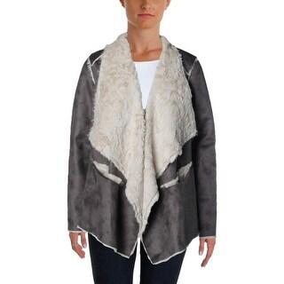 Cullen Womens Faux Suede Asymmetrical Coat - S
