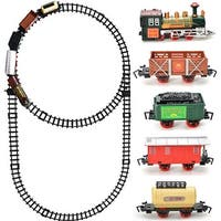 Kids Toy Railway Classic Train Set with Music Light Battery Operated