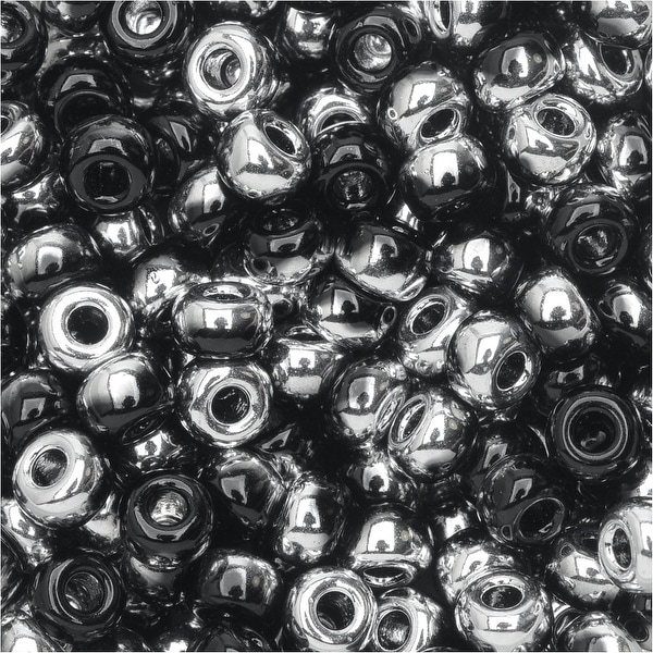 BeadSmith Unions, 6/0 Round Seed Beads, 20 Gram Tube, Black Labrador