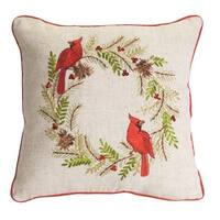 """Set of 2 White and Red Cardinal Pine Wreath Decorative Embroidered Throw Pillow 15.5"""" - Brown"""