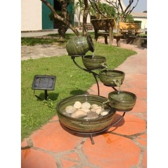 Smart Solar 23931R01 Ceramic Solar Cascading Fountain Glazed Green Bamboo Design