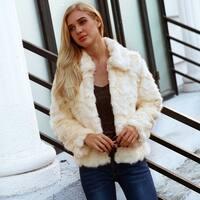 Womens  Faux Fur Coat Vintage Winter Warm Fluffy Faux Fur Coat Jacket Outwear
