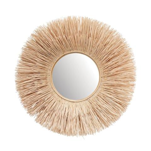 Round Cane Rib Wall Mirror - Natural