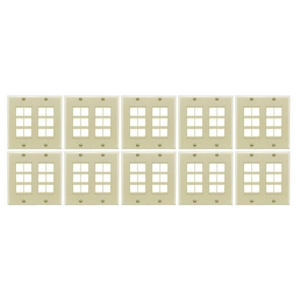 Sewell Wall Plate with 12 Keystone Jack Ports, Beige, 10 LOT