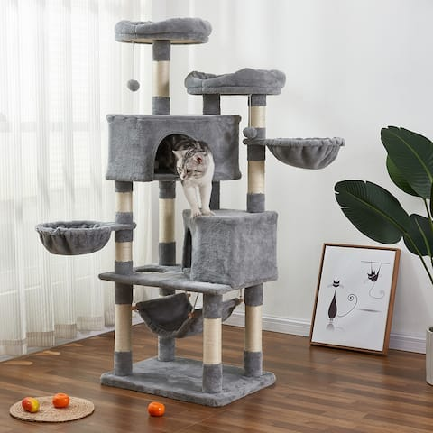 Multi-Level Cat Tree with Flexible Pole Covered with Sisal Plush Perch