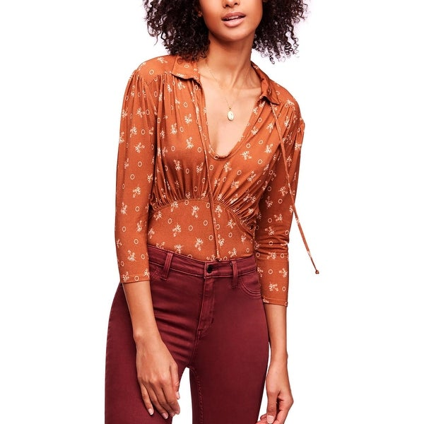 Free People Womens Soraya Pullover Top Printed Cut-Out