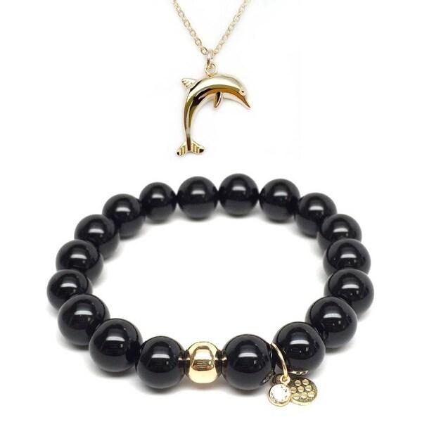 """Black Onyx 7"""" Bracelet & Dolphin Gold Charm Necklace Set"""