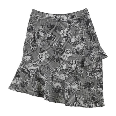 Rachel Roy Womens Bailen Plaid Floral Asymmetrical Skirt, Grey, 8