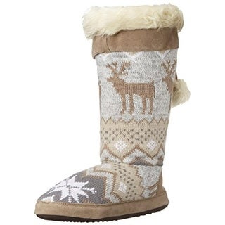 Muk Luks Womens Winnie Faux Fur Slouchy Mukluk Slippers - S