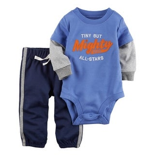 Carter's Baby Boys' 2-Piece Bodysuit Pant Set, 9 Months - Blue