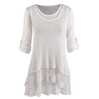 Women's Roll Tab Sleeve Blouse And Gauzy White Tank Set