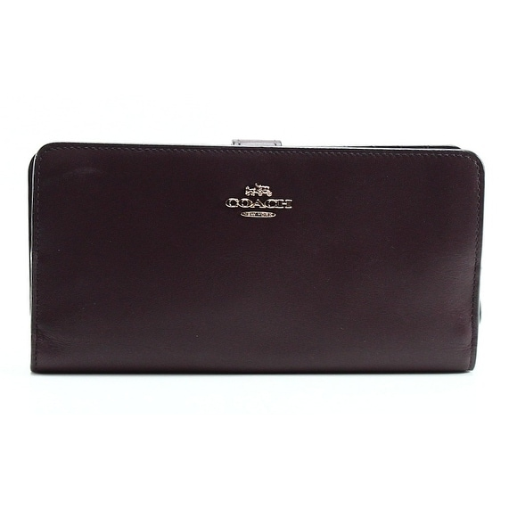 Coach NEW Red Oxblood Refined Leather Skinny Cardholder Wallet Clutch