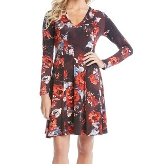 Karen Kane NEW Red Women's Large L Floral Long Sleeve Sheath Dress