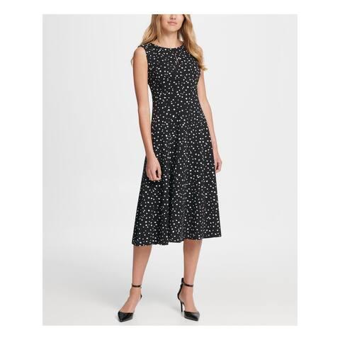 DKNY Womens Black Polka Dot Sleeveless Midi Shift Dress Size 12