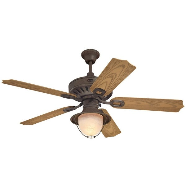 "Westinghouse 7877865 Lafayette 52"" 5 Blade Hanging Indoor Ceiling Fan with Reversible Motor, Blades, Light Kit, and Down Rod"
