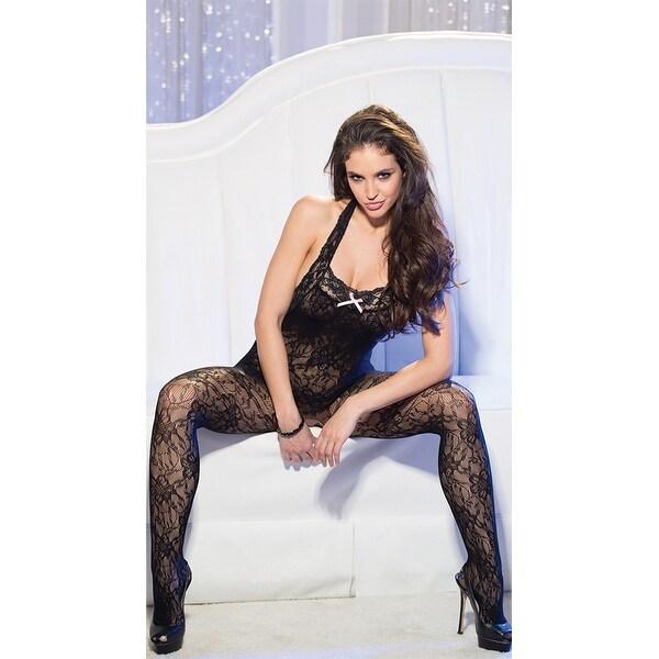 fdd63da90af Shop Halter Stretch Lace Bodystocking