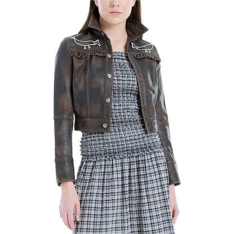 Max Studio London Womens Cropped Leather Jacket