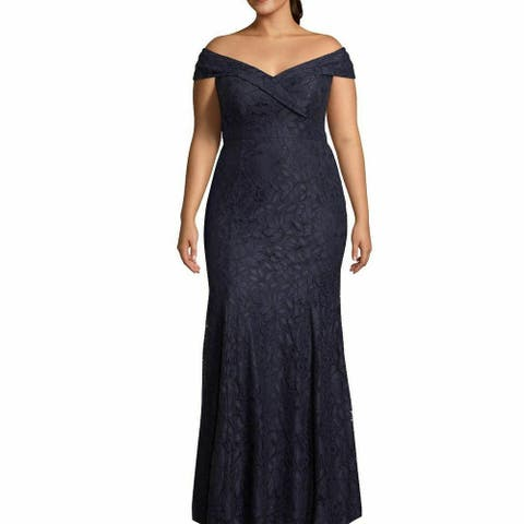 Xscape Womens Dress Midnight Plus Off Shoulder Lace Gown