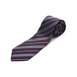 Luciano Barbera Men Slim Silk Neck Tie Navy Red