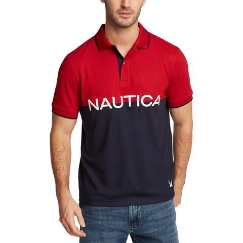 Nautica Blue Mens Big & Tall Polo Shirt Colorblock Graphic - Nautical Red