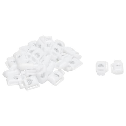 40pcs Plastic Cord Locks Stoppers End Spring Toggle Fasteners Organizers White