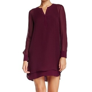 Vince NEW Red Women's 2 Tunic Double Layer Shirttail Silk Dress