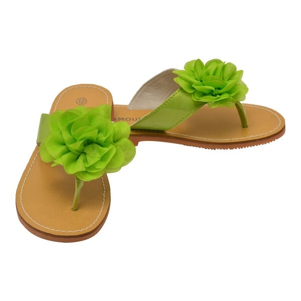 dbb6302238bdf Shop L Amour Girls Lime Organza Flower Adorned Thong Sandals - Free ...