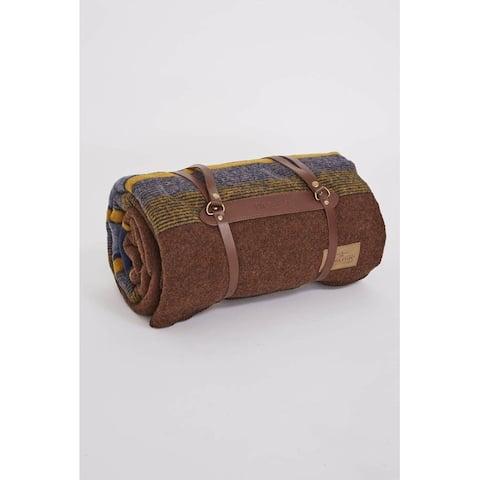 Pendleton Yakima Camp High Ridge Blanket With Leather