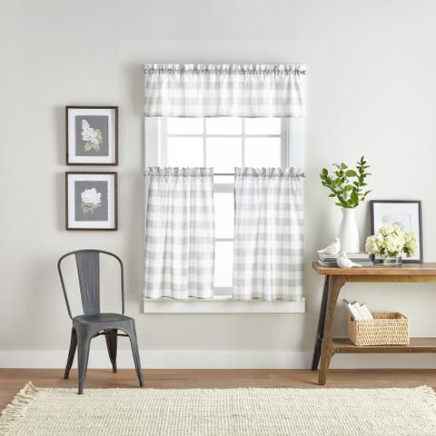 """Farmhouse Buffalo Check 3-piece Kitchen Curtain Tier and Valance Set - 1-Valance And 2-36"""" Tiers"""