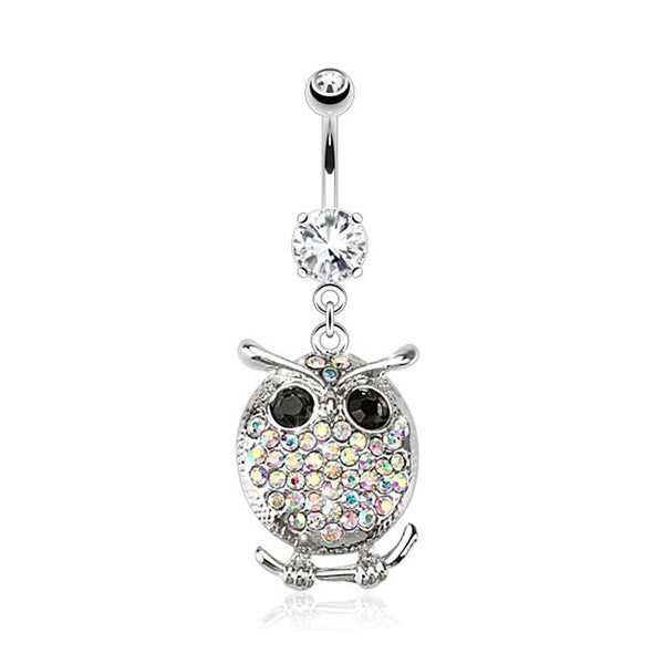 Oval Owl with Multi Paved Gems Navel Belly Button Ring 316L Surgical Steel (Sold Ind.)