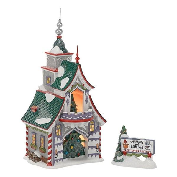 "Department 56 North Pole ""Rudolph's Silver & Gold Tree Toppers"" Porcelain Lighted Building #4036544 - green"