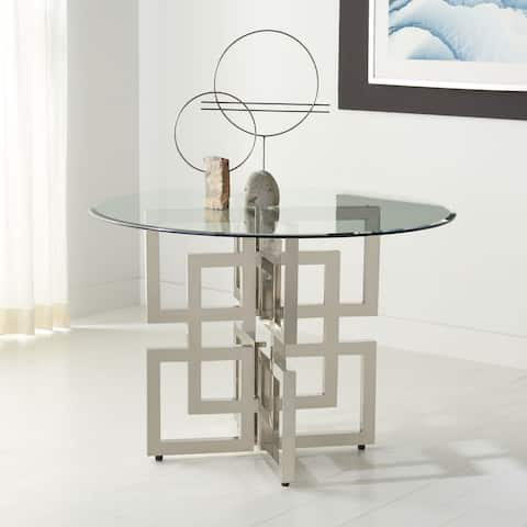 """Safavieh Couture Harlan 42-inch Round Glass Top Dining Table - 42"""" W x 42"""" L x 30"""" H"""