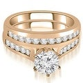 1.16 cttw. 14K Rose Gold Channel Set Round Cut Diamond Bridal Set - Thumbnail 0