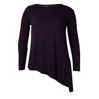 Karen Kane Women's Solid Asymmetrical Hem Sweater (L, Eggplant) - L